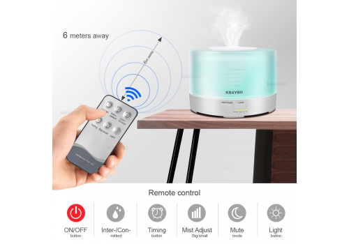 500ml 7 Color LED Light Electric Essential Oil Aroma Diffuser  with Remote