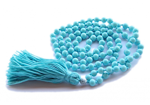 Designer 108 Beads Long Knotted Mala Necklace - Caribbean Blue Beads - Yoga Gift - Yoga Trader exclusive
