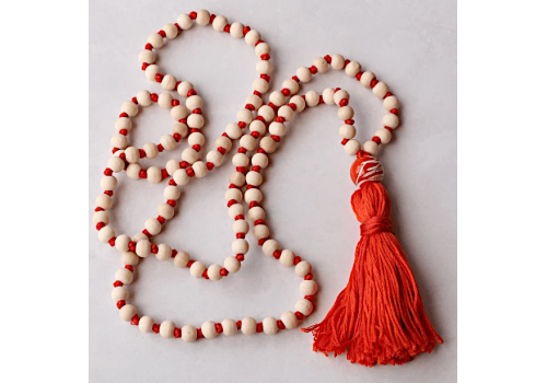 Wood and Cotton - Long Knotted Wood Mala Necklace with Orange Cotton Tassel - Yoga Trader exclusive